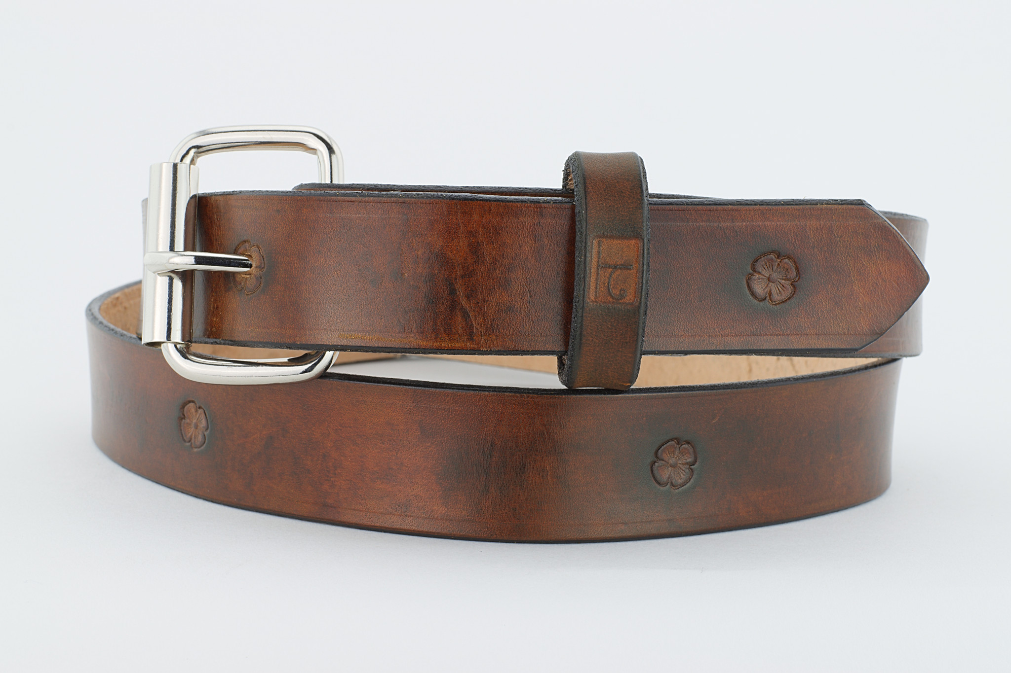 Single Flower Belt Brown 1.5 inches