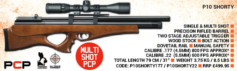 SMK P10 Shorty Bullpup Multi Shot inc 3-9x40 Scopes & Gunbag