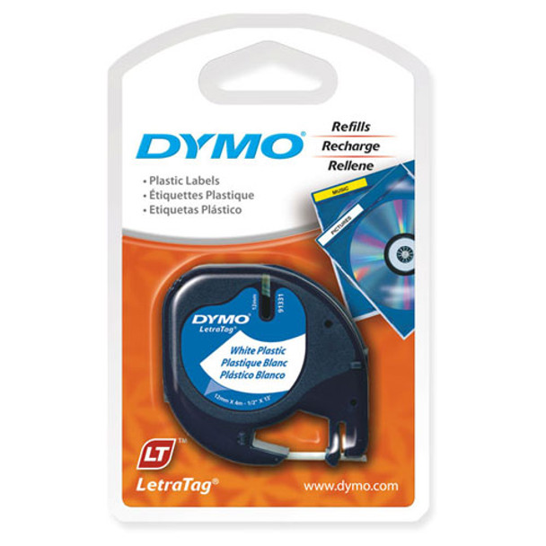 Dymo LetraTag Tape 91201 91331 12MM X 4M White Plastic