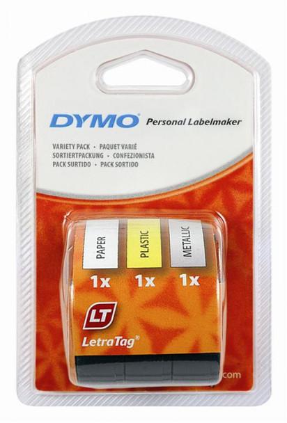 Dymo LetraTag Paper / Plastic / Metallic Multi Tape Pack - Pack of 3