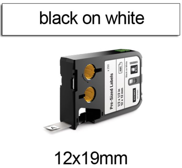 Dymo XTL Pre-Sized Labels 12 x 19mm Black on White 1868670