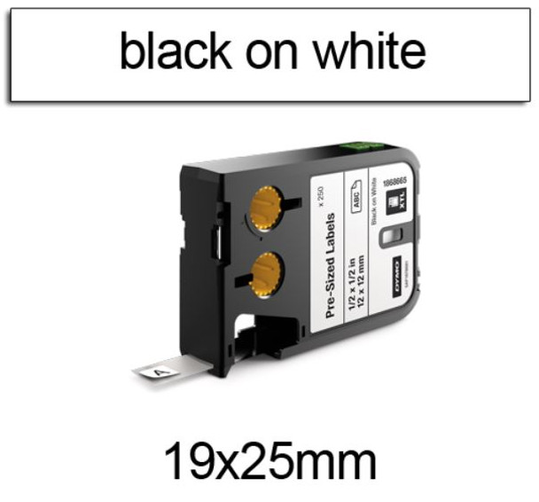Dymo XTL Pre-Sized Labels 19 x 25mm Black on White 1868701