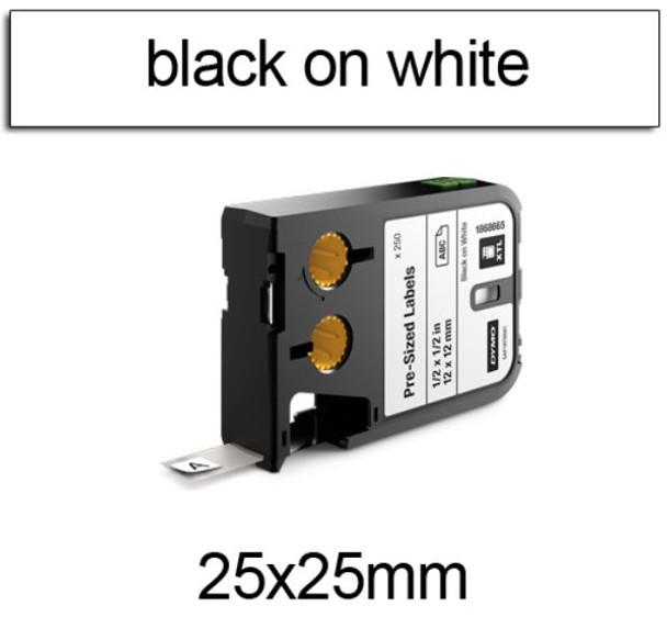 Dymo XTL Pre-Sized Labels 25 x 25mm Black on White 1868668