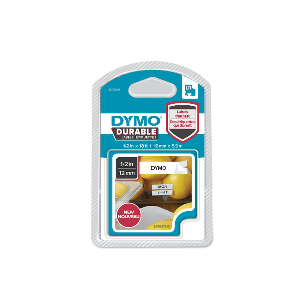 Dymo Durable D1 Label Tape 1978364 12mm x 5.5m Black on White
