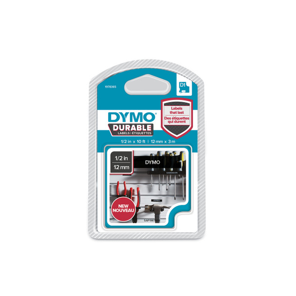 Dymo Durable D1 Label Tape 1978365 12mm x 3m White on Black