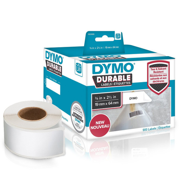Dymo 1933085 Durable LabelWriter Labels 19mm x 64mm Roll of 900 Labels