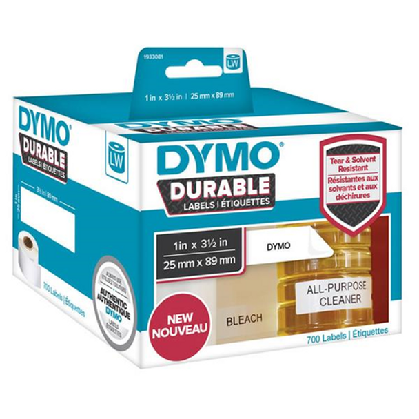 Dymo 1933081 Durable LabelWriter Labels 25mm x 89mm Roll of 700 Labels