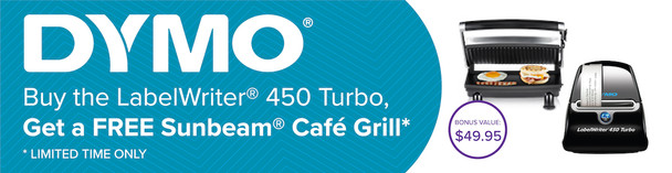 BONUS SUNBEAM CAFE GRILL with Dymo LabelWriter 450 Turbo LW450T