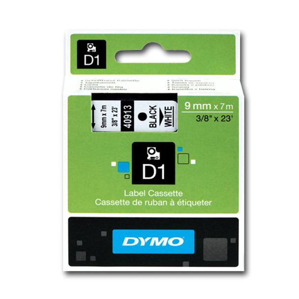 Dymo LabelManager D1 Tape 40913 9MM X 7M Black on White S0720680