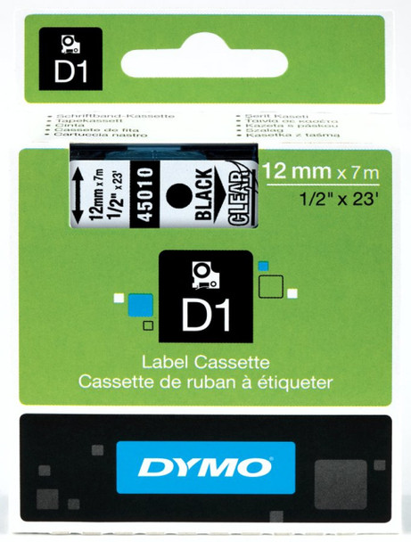 Bulk Buy Dymo LabelManager D1 Tapes 45010 12MM X 7M Black on Clear - 10 Tapes