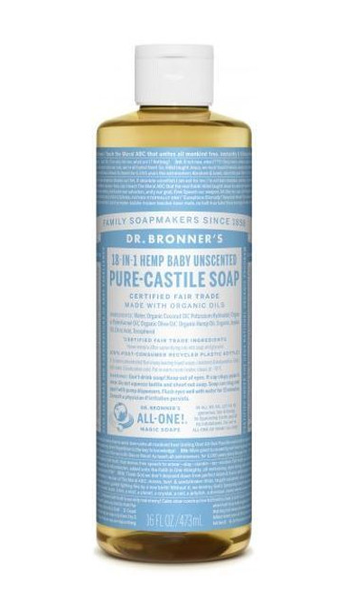 Pure-Castile Liquid Soap 473ml - Baby Unscented by Dr. Bronner's