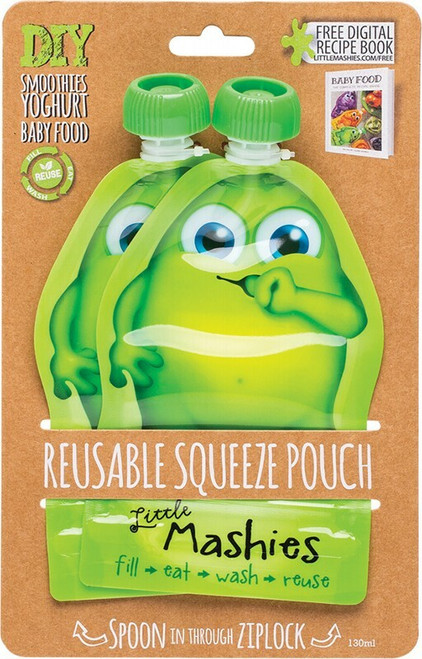 Little Mashies Reusable Squeeze Pouch Green 2x 130ml