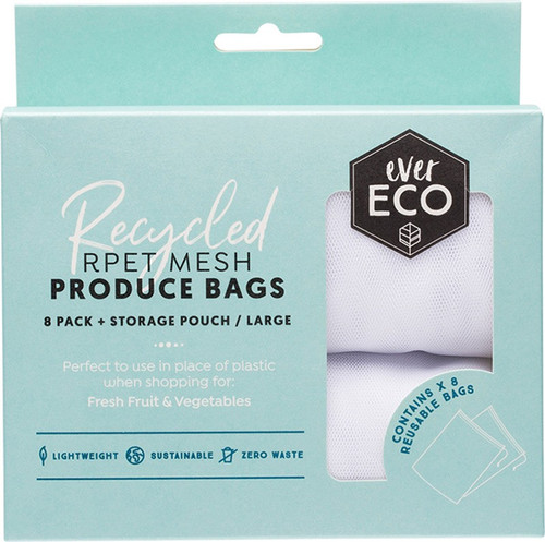 EVER ECO Reusable Produce Bags Recycled Polyester Mesh x8