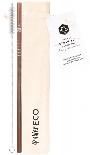 Rose S/Steel Straw Kit 1 by Ever Eco
