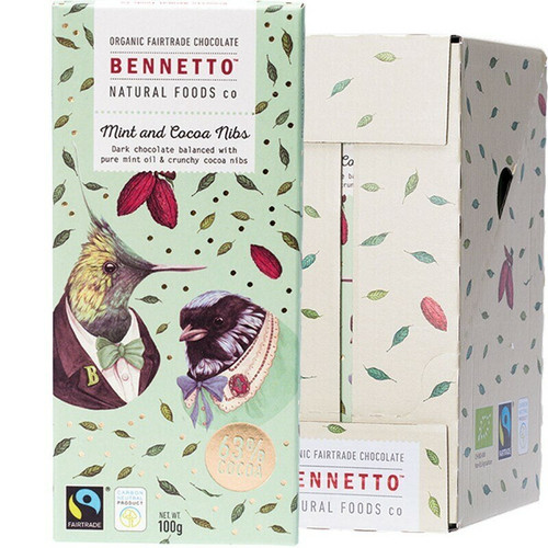 Bennetto Organic Dark Chocolate Mint And Cocoa Nibs 14x 100g
