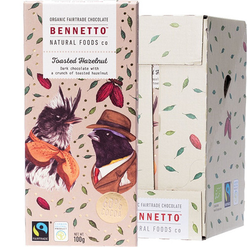 Organic Dark Chocolate Toasted Hazelnut 14x100g | BENNETTO
