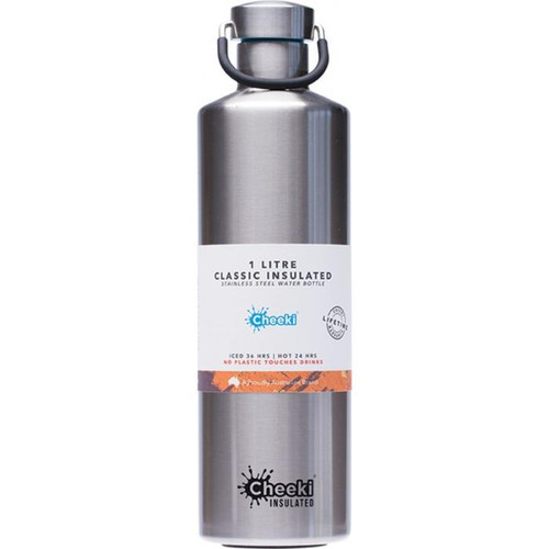 Cheeki Stainless Steel Bottle Insulated Silver 1L