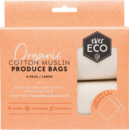 Ever Eco Cotton Muslin Produce Bags 4 Packet