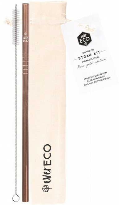 Ever Eco On The Go Rose Gold Straw Kit 1
