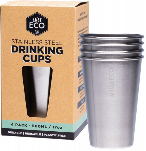 EVER ECO Stainless Steel Drinking Cups 4 pack 4x500ml