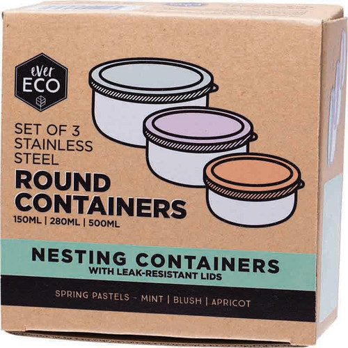 Ever Eco Round Containers Pastels x 3