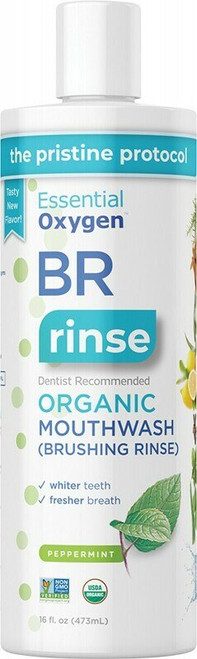 ESSENTIAL OXYGEN Toothpaste/Mouthwash Brushing Rinse - Peppermint 473ml