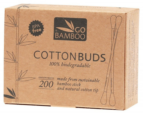 GO BAMBOO Cotton Buds 100% Biodegradable x200