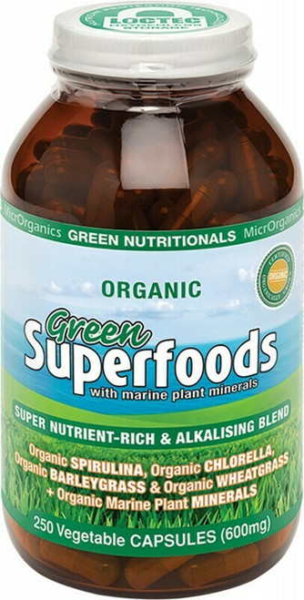 Green Superfoods 250 Capsules By Green Nutritionals