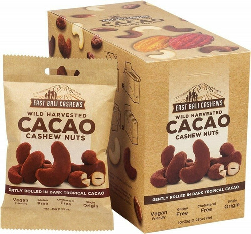 EAST BALI CASHEWS Cacao Cashew Nuts Wild Harvested 10x35g
