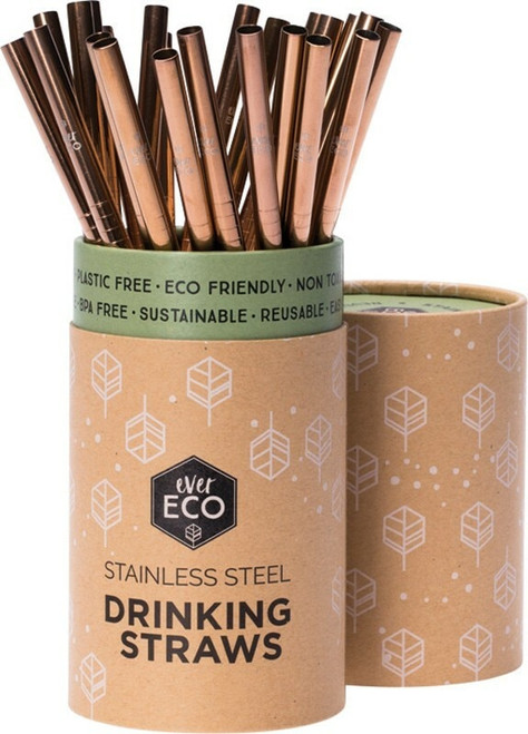 Ever Eco Rose Gold Straight Straws 25 Packet