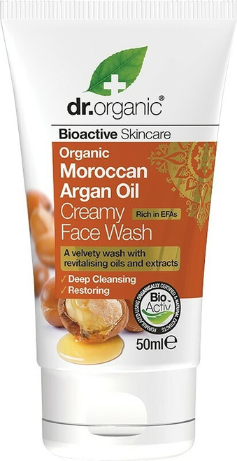 Dr Organic Travel Size Creamy Face Wash Organic Moroccan Argan Oil