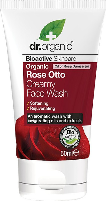 Dr Organic Travel Size Creamy Face Wash Organic Rose Otto 50ml