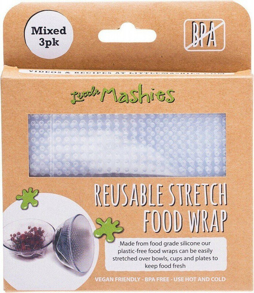 Little Mashies Reusable Stretch Silicone Food Wrap Pack of 3 1 x S, M, L