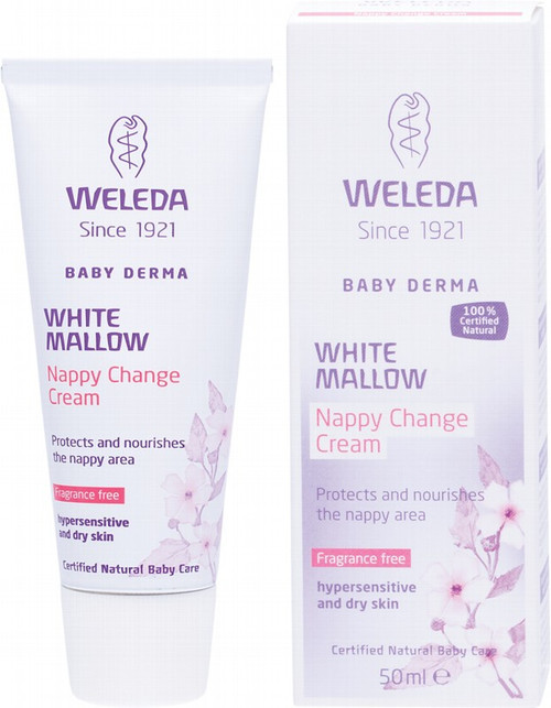 Weleda White Mallow Nappy Change Cream Baby Derma - Fragrance Free 50ml