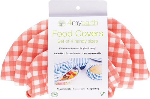 4MyEarth  Food Cover Set Red Gingham - XS, S, M & L
