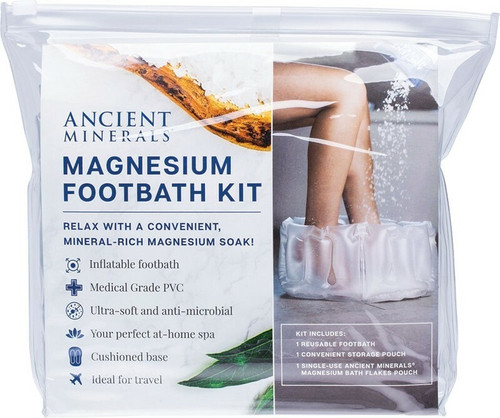 Ancient Minerals Inflatable Magnesium Footbath Kit With Magnesium Bath Flakes