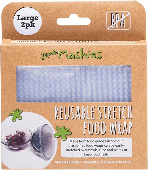 Little Mashes Reusable Stretch Silicone Food Wrap Large (25cm x 25cm) x 2