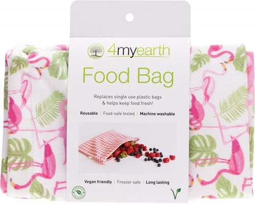 4MyEarth Food Bag Flamingoes - 25x20cm