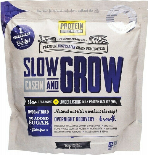 Pure (Unflavored) Slow and Grow Casein (MPI) 1kg by Protein Supplies Australia