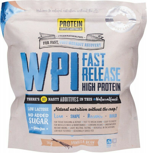 Protein Supplies Australia Vanilla Bean Whey Protein Isolate (WPI) 1kg