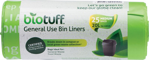 Biotuff General Use Bin Liners 25 Medium Bags - 20L- 25