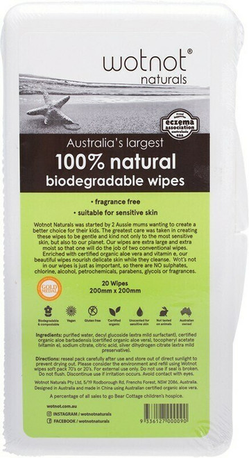 WOTNOT Baby Wipes With Case 100% Biodegradable x20