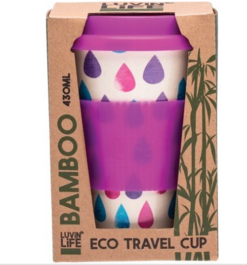 Luvin Life Bamboo Travel Cup Raindrops 430ml