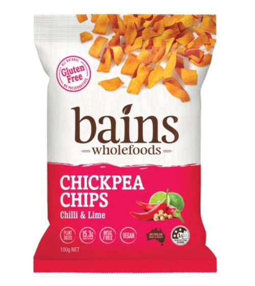 Bains Wholefoods Chickpea Chips Chilli & Lime 100g x 12