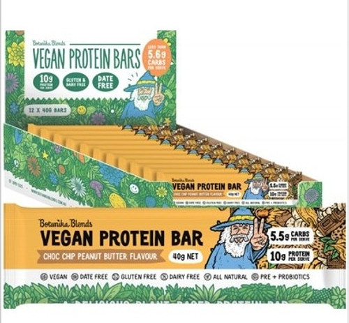 Botanika Blends Vegan Protein Bars Choc Chip Peanut Butter 12x40g