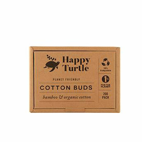 Happy Turtle Org Cotton&Bamboo Cotton Buds 200 pack (Flip lid)
