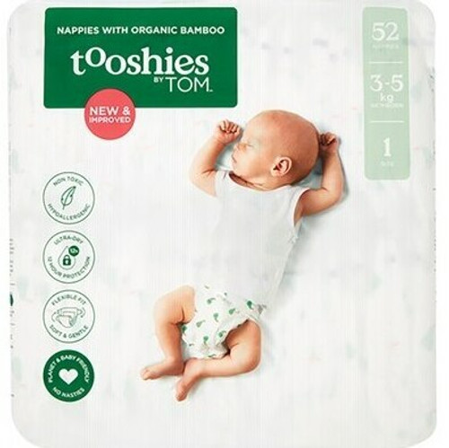 Tooshies By Tom Nappies With Organic Bamboo Size 1 Newborn - 3-5kg 2x52