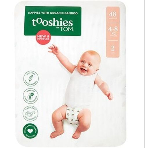 Tooshies BY Tom Nappies With Organic Bamboo Size 2 Infant - 4-8kg 2x48