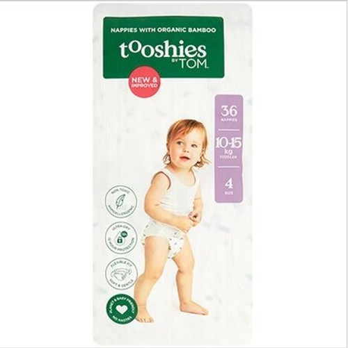 Tooshies By Tom Nappies With Organic Bamboo Size 4 Toddler - 10-15kg 2x36