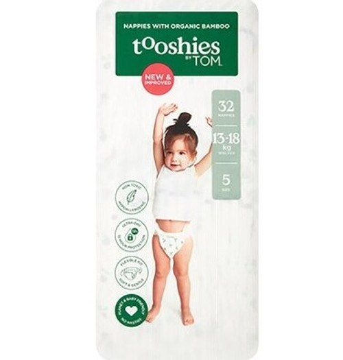 Tooshies By Tom Nappies With Organic Bamboo Size 5 Walker - 13-18kg 2x32